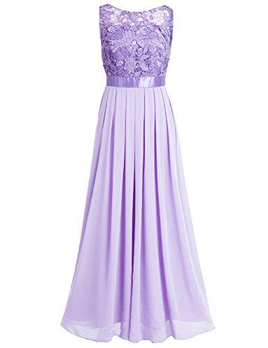 iixpin Damen Vintage Maxi-Spitzenkleid Elegant Brautjungfer Abendkleider Chiffon Hochzeit Festliche Kleider Cocktailkleid Lavendel 46