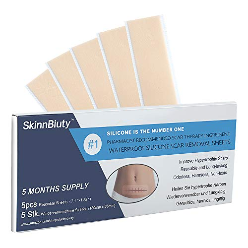 """Silicone Scar Removal Sheets, Section Recovery Scar Treatment ,Soften and Flattens Scars Resulting from C-section,Surgery, Injury, Burns, Acne and more, XL7.1""""×1.38"""", 5 Sheets(5 Months Supply)"""