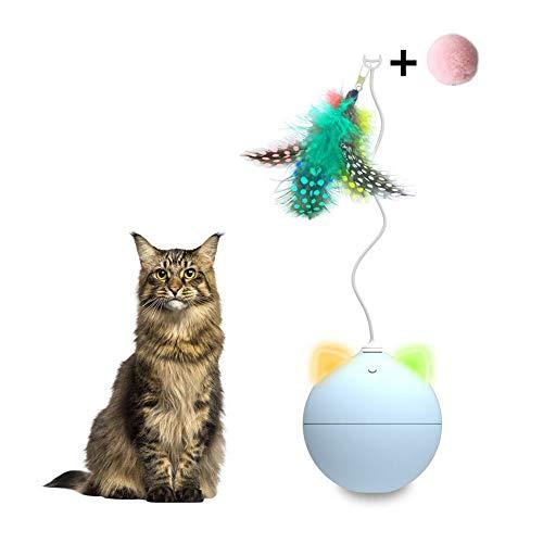 Seasons Shop Interactieve bal speelgoed voor katten, 360 graden, automatische kogel, draaibaar, speelgoed, Chaserball, geïntegreerde accu, oplaadbaar, met afneembare veer (wit), Blauw