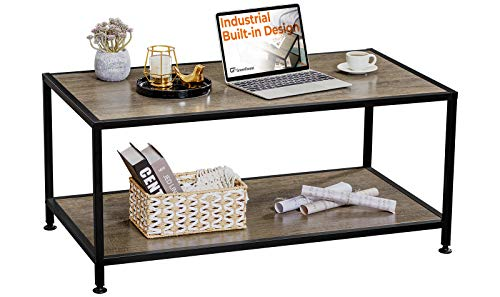 GreenForest Coffee Table Industrial Metal Frame for Living Room Easy to Install, Rustic Walnut
