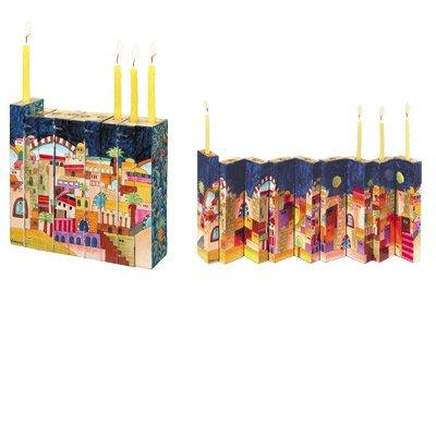 Judaica Menorah - Hanukkah Candles Holder 9 Branch - Yair Emanuel WOODEN ACCORDION HANUKKAH MENORAH JERUSALEM (Bundle)