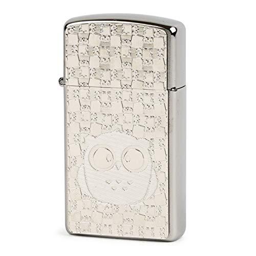 ZIPPO(ジッポー) ライター スリム シルバー フクロウ メタルプレート貼り 片面加工 クローム
