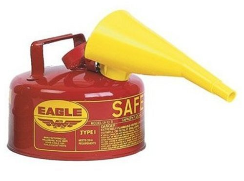 Eagle UI-10-FS Red Galvanized Steel Type I Gasoline Safety Can with Funnel, 1 gallon Capacity, 8' Height, 9' Diameter