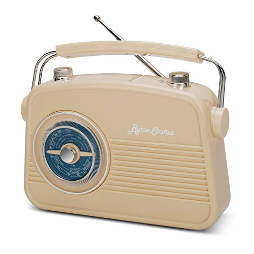 Byron Statics Radio FM AM Portable Radios Vintage Stable Reception Easy Use Dual Power Operation Big Handle Large Knob AC Adaptor Metal Antenna Headset Jack for Home Car Office Good Gift Cream