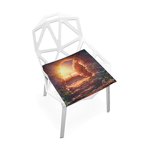 Lixhale Computer Chair Mats Crucifixion Sunrise Empty Tomb Shroud Resurrection Soft Non-Slip Memory Foam Chair Pads Cushions Seat for Home Kitchen Office Desk 16x16 Inch Desk Chair Cushions Outdoor