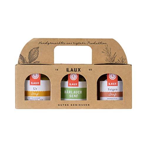 LAUX 3er Geschenkset Senf mit Feigen Senf , Bärlauch Senf und Ur-Senf (3x30g im Glas), in hochwertiger Geschenkbox