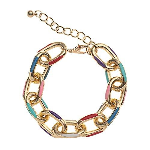 Moda colorido mujeres hombres gótico pareja pulseras gruesas cadenas de aluminio Hip Hop cadenas pulseras