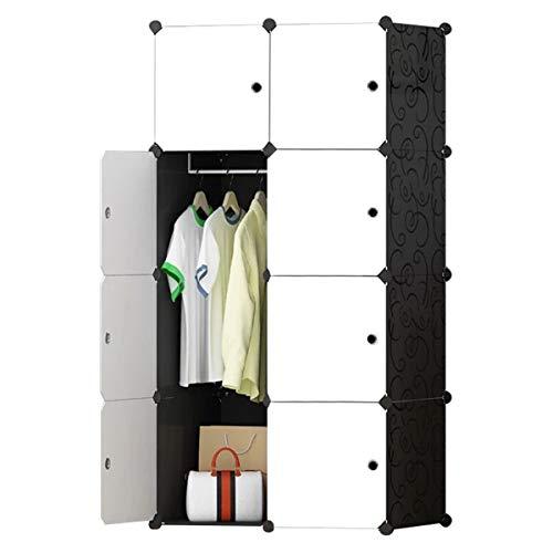 BRIAN & DANY Kleiderschrank aus 8 Würfeln, modularer Speicher-Organisator Kunststoffschrank mit Türen & 1 Aufhängern, tiefere Fächer als normal (45 cm vs. 35 cm) für mehr Platz