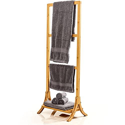bambuswald© Porte-serviettes en 100 % bambou - Porte-serviettes, porte-vêtements, échelle à vêtements, accessoires de salle de bain