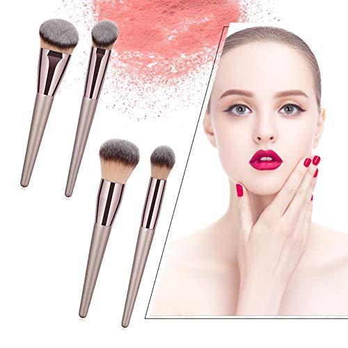 Beito Pinceaux de maquillage ensemble 4pcs pinceaux de maquillage professionnel manche en bois brosses cosmétiques pinceaux fond de teint synthétique de première qualité (Champagne)