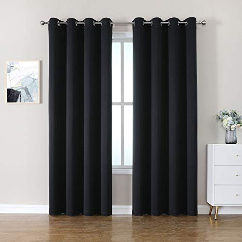 CUCRAF Blackout Curtains 95 Inch Length 2 Panels Set,Thermal Insulated Curtains Room Darkening for Bedroom,Light Blocking Drapes for Living Room(52 x 95 Inch, Black)