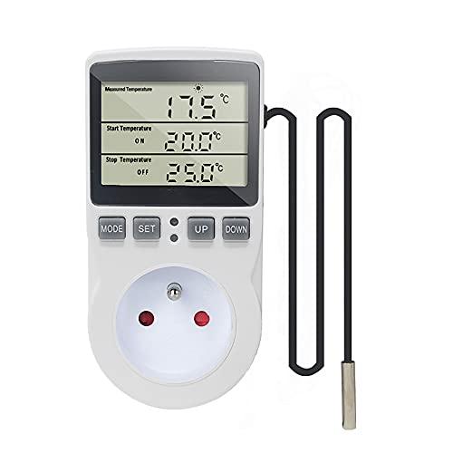 KETOTEK Prise Thermostat Regulateur de Température Numérique Chauffage Refroidissement avec Sonde, LCD Prise Contrôleur de Température Minuteur pour Aquarium Incubateur Serre