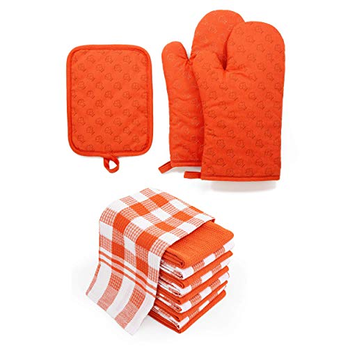 Chef Pomodoro Oven Mitts and Pot Holder with Kitchen Towels Bundle Pack - 13-Piece Set (Orange)