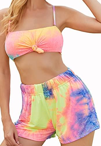 ARRIGO BELLO Bikinis Mujer Bañadores Sexy Traje de Baño Cintura Alta Ropa de Baño Tallas Grandes Tres Piezas Bikini Reductores Barriga Volante Fruncido Bañador de Mujer (Multicolor, M, m)