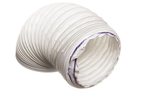 6 metre PVC (Kunststoff) Weiß Flexibler Abluftschlauch, Kondensator für Trockner Dunstabzugshaube Belüftungs Schlauch 102 mm Durchmesser für 100 mm Luftführung