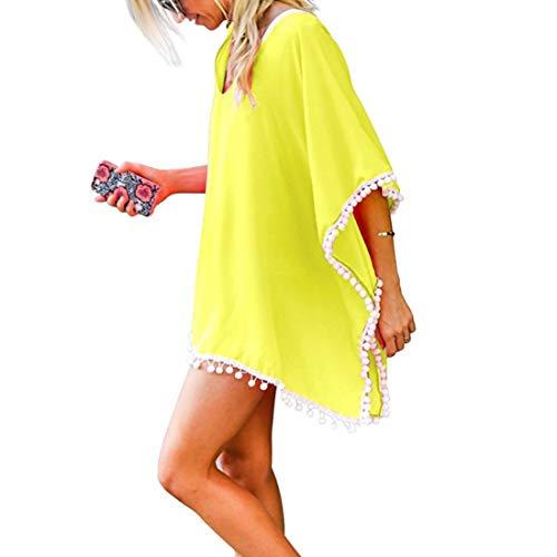 JMITHA Damen Strandponcho Sommer Strandkleid Sommerkleid Bikini Badeanzug Cover Up (One Size(XS-2XL), Gelb(solid Pom))