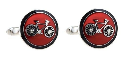 Unbekannt Sport Manschettenknöpfe Fahrrad rund silbern + schwarzer roter Lack inkl. Geschenkbox