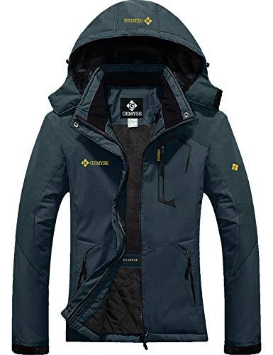 GEMYSE Women's Mountain Waterproof Ski Snow Jacket Winter Windproof Rain Jacket (Dark Grey, L)