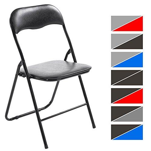 CLP Klappstuhl Küchenstuhl Felix, Metallgestell, Kunststoff-Sitz gepolstert schwarz/schwarz