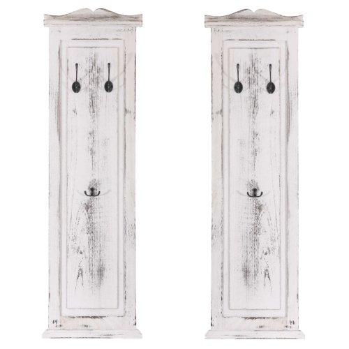 Mendler Serie vintage set 2x appendiabiti attaccapanni legno paulonia 3 ganci 6x28x109cm bianco