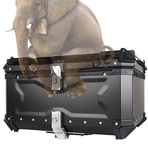 HIMAPETTR Top Case con Llaves Y Accesorios, Aluminio Caja Luggage Motor Bike Motorcycle Scooter, Liberación Rápida, con 2 Llaves Accesorios,Negro,65L