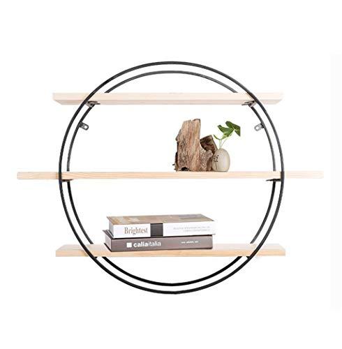 Étagère murale ronde en bois en métal pour le salon de barre Tablette accrochante de cube de tablette pour la chambre comme support de stockage d'étagère Conception (taille : 60×20×60cm)