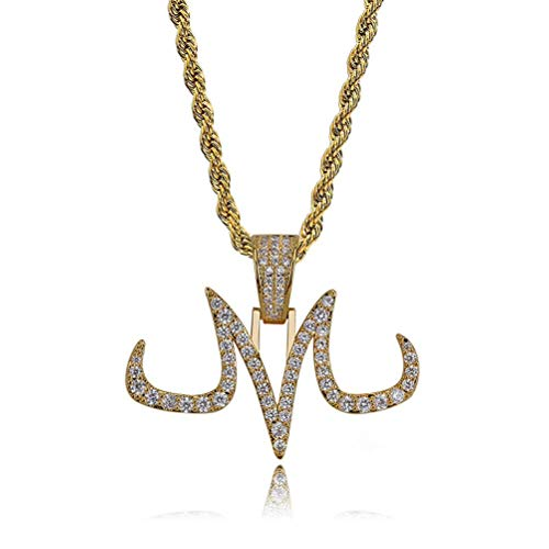 Moca Jewelry Hip Hop Iced Out Bling Magic Tattoo Logo M Personality Colgante de cadena chapado en oro de 18 quilates para hombres y mujeres