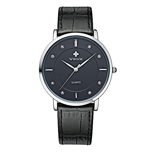 HopeU5 Wwoor Mens Thin Watch Cinturino in pelle Design casual -Analog orologio quadrante semplice, orologio da polso al quarzo impermeabile