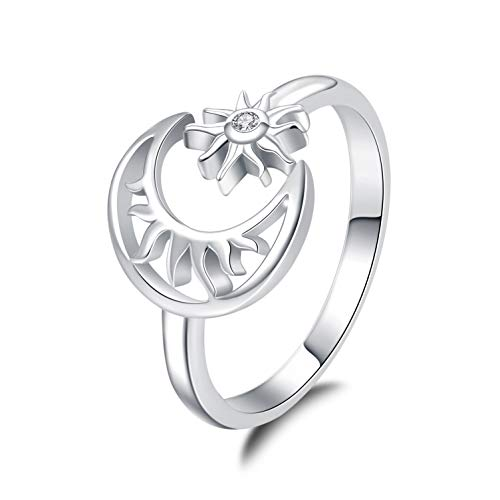 JXJL Sterling Silver Adjustable Moon Star Ring Crescent&Sun Creative Opening Band Wrap Open Ring for Women Girls