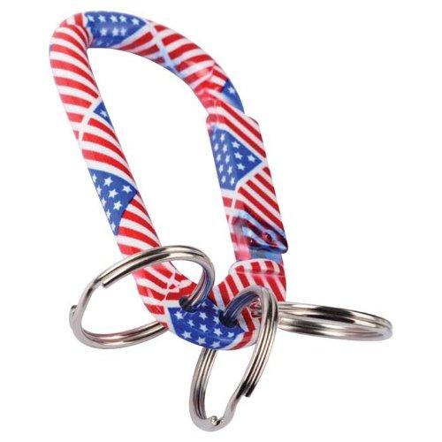 munkees Karabiner Schlüsselanhänger US Flagge mit Schlüsselring, Aluminium, 3312