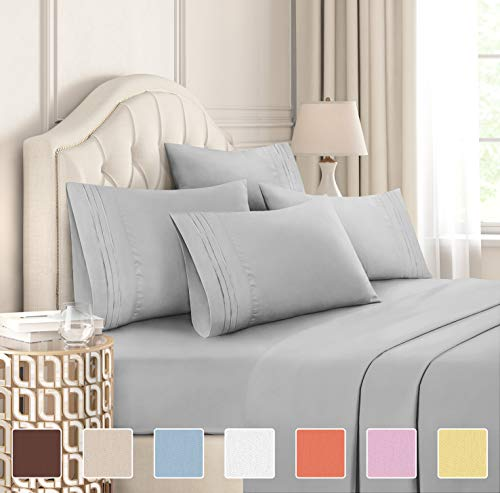 California King Size Sheet Set - 6 Piece Set - Hotel Luxury Bed Sheets - Extra Soft - Deep Pockets - Easy Fit - Breathable & Cooling - Wrinkle Free - Comfy - Light Grey Bed Sheets - Cali Kings Sheets