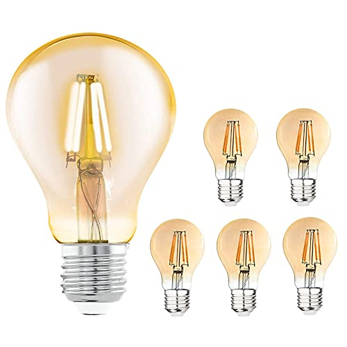 Iveoppe - Bombilla Edison vintage E27, 40 W, 220 – 240 V, lámpara decorativa retro, bombilla globo G80, regulable, blanco cálido (lote de 6)
