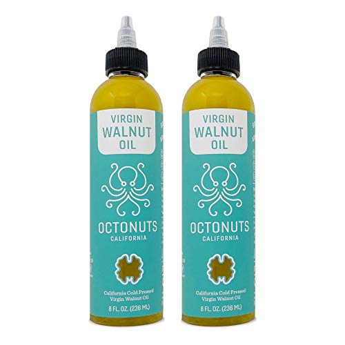 Octonuts Cold Pressed Virgin Walnut Oil, 8 Ounce (Pack of 2), Made with California Walnuts, Plant Based, Keto, Paleo Friendly, Vegan, Gluten Free