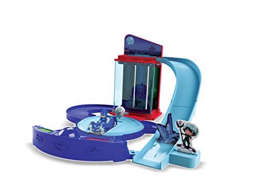 Dickie Toys PJ Masks - Centro di controllo per giochi di ruolo PJ Masks con spazio per 3 veicoli, piatto girevole e ascensore, rampa inclusa PJ Masks, Cat Car, PJ Masks Set, 60 cm, dai 3 anni in su