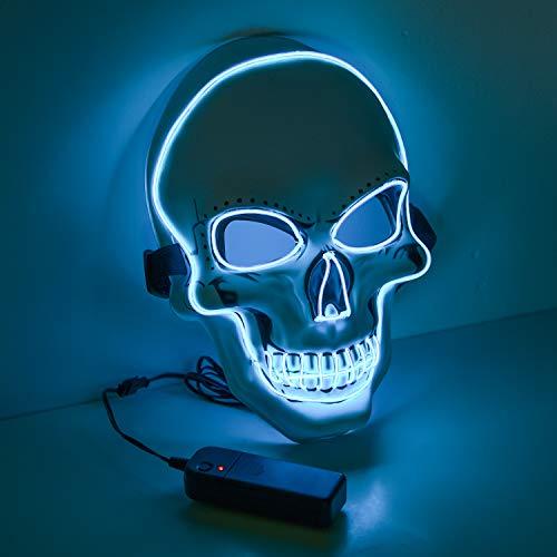 Halloween Maske led, Totenkopfmaske, harmlose LED Maske mit 3 Blitzmodi für Halloween, Fasching, Karneval, Party, Kostüm Cosplay, Dekoration