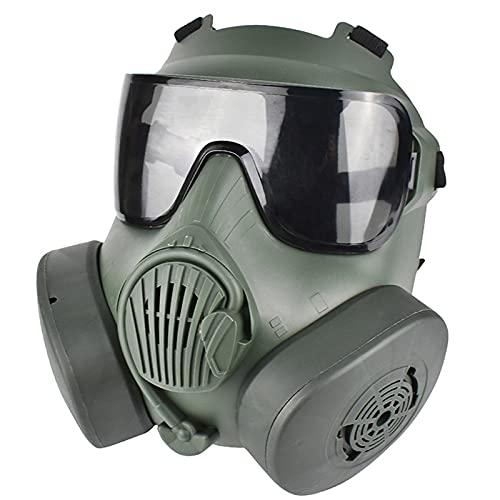 Gkotta Máscara de Airsoft Airsoft Dummy Máscara de Gas antiniebla con Doble Turbo Games CS Paintball BBS Protection Gear Filters Double Dummy(Black (Silver Lens) Double Can,One Size)
