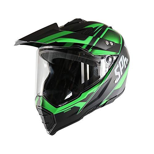 MRDEAR Casco de Motocross Adulto, Casco Cross con Visera (Negro y Verde/Forro Extraíble/Ventilación Ajustable) Casco MTB Enduro Integral para Quad Downhill Scooter Racing Motocicleta,S