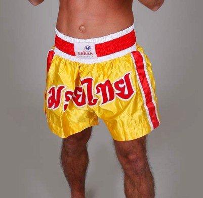 Orkansports Thaiboxbroek Muay Thai boxershorts kickboxbroek Shorts geel/rood