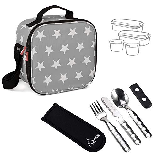 PracticFood - Urban Food Stars Grey con Cubiertos Laken. Bolsa Térmica Porta Alimentos con Tapers Herméticos