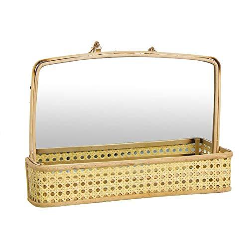 Home Gadgets Espejo con Estante Ratan 30 cm