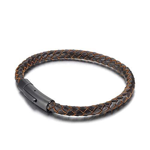 YFZCLYZAXET Armband Armreif Armkette Damen Herrengeschenk Vintage Lederarmband Herren Lederarmband Einfaches Klassisches Armband Handgefertigter Schmuck-Schwarz-Braun