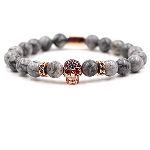 ZGRJIUERYI stenen armband, natuursteen kralen armband, foto Agaat steen Rose goud micro-Set zwart Zirkoon steen bot armband, gepersonaliseerde kleding accessoires sieraden