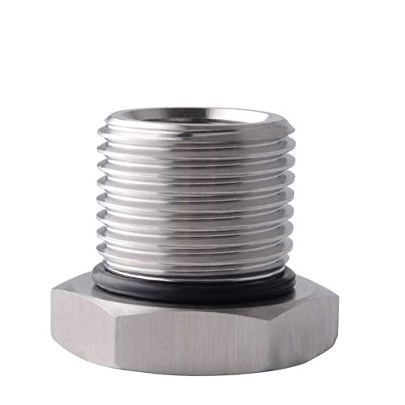 HERCHR Automobile Oil Filter Threaded Stainless Steel Durable Resistant Adapter,Silver