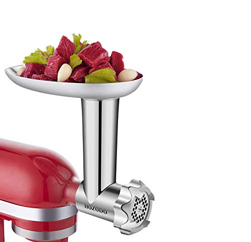Food Meat Grinder Attachments Designed for KitchenAid Stand Mixers, Durable Metal Food Processor, Useful Mixer Accessory Including Sausage Stuffing Tubes