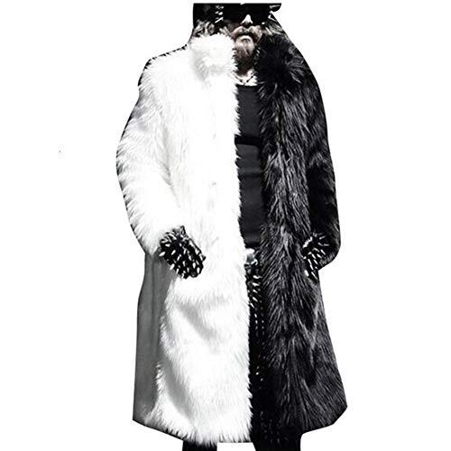 Lisa Colly Men Faux Fur Coat Jacket Winter Mens Warm Thicker Fur Coat Outwear Long Parka Overcoat (4X-Large, White+Black)