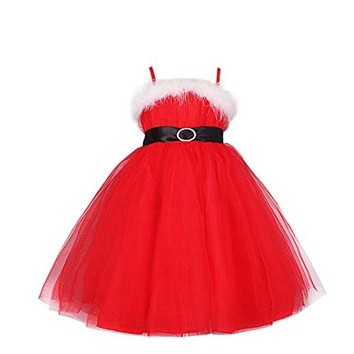 IEFIEL Costume Noël Robe Bustier à Bretelles Rouge Tutu Jupe Princesse Enfant Fille 3-8 Ans Rouge 7-8 Ans