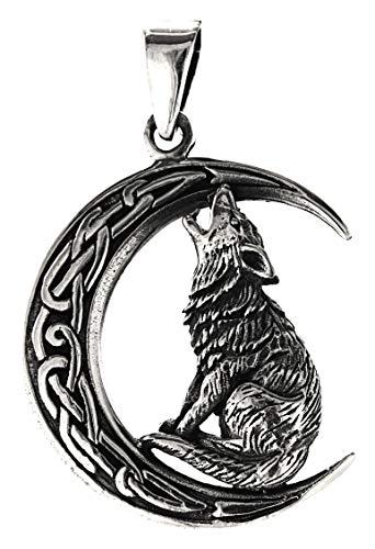 Kiss of Leather 355 - Colgante de plata de ley 925, diseño de lobo en