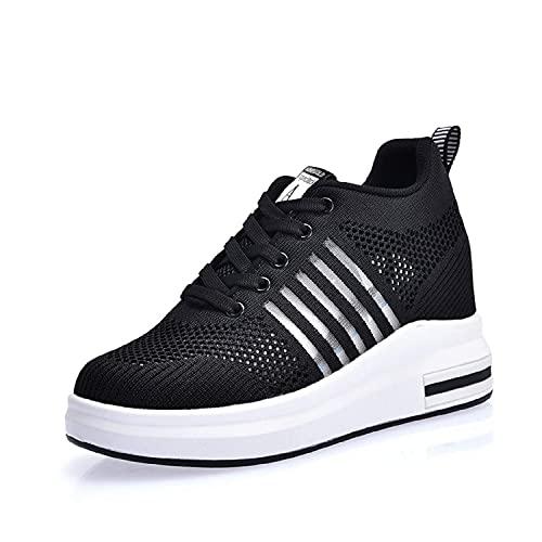 AONEGOLD Damen Sneaker Wedges mit Keilabsatz Sportschuhe Laufschuhe Turnschuhe Running Fitness Freizeitschuhen Outdoors Bequeme Atmungsaktiv Schuhe (Schwarz 37 EU)