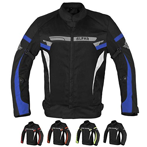ALPHA CYCLE GEAR BREATHABLE BIKERS RIDING PROTECTION MOTORCYCLE JACKET MESH CE ARMORED (BLUE MOON, XXX-LARGE)