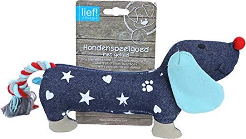 Lief! Unisex Canvas Teckel - Hondenspeelgoed - Blauw - 25 cm